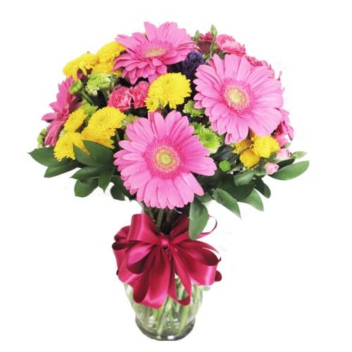 Arreglo floral con 6 gerberas for Arreglos de rosas sencillos