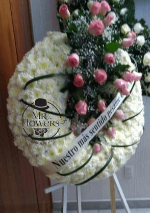 Corona Blanca Chica con 24 Rosas Rosa con Tripie