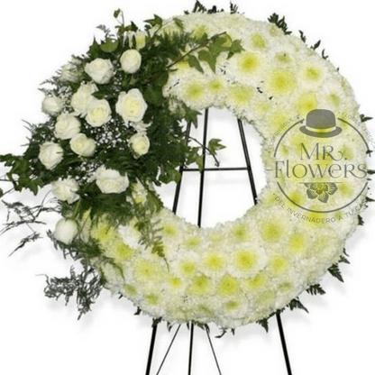 Corona Fúnebre Elegante con Arreglo Floral con tripie