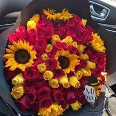 Ramo Atardecer de rosas con girasoles