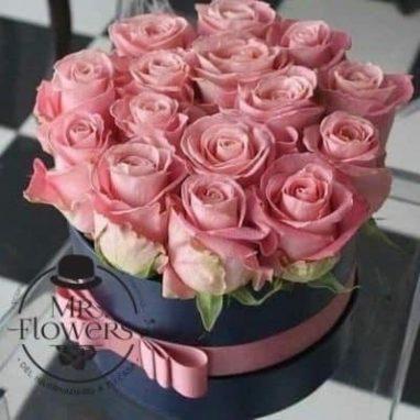 Arreglo floral con 15 rosas rosadas