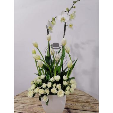 Arreglo con orquidea, tulipan y mini rosa blanca sin moño